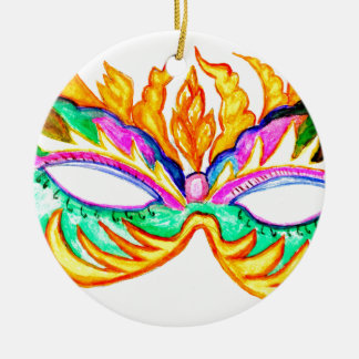 Carnival Mask Watercolor Round Ceramic Decoration