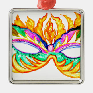 Carnival Mask Watercolor Silver-Colored Square Decoration