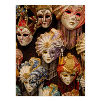 Carnival Masks in Venice Postcard