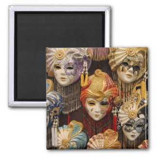 Carnival Masks in Venice Square Magnet