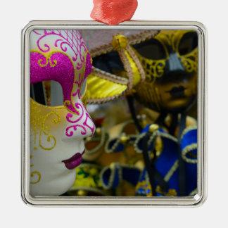 Carnival Masquerade Masks in Venice Italy Metal Ornament