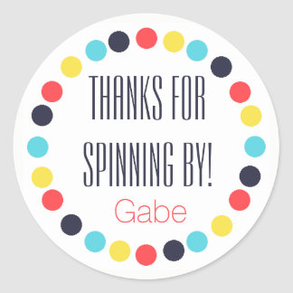 Carnival Pinwheel Label/Sticker {Personalized} Classic Round Sticker