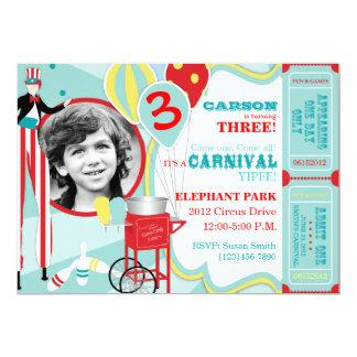 Carnival Stilt Walker & Cotton Candy Birthday Card