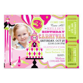 Carnival Tent Cake Birthday Invitation