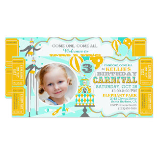 Carnival Tent Cake Birthday Invitations