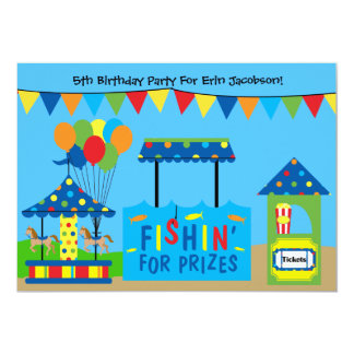 "Carnival Theme Birthday Party Invitation 5"" X 7"" Invitation Card"