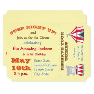 Carnival Ticket Birthday Invite- Circus Theme Card