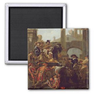 Carnival Time in Rome, 1653 (oil on canvas) Fridge Magnet