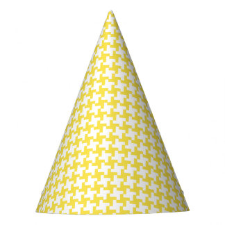 Carnival Yellow Houndstooth Party Hat
