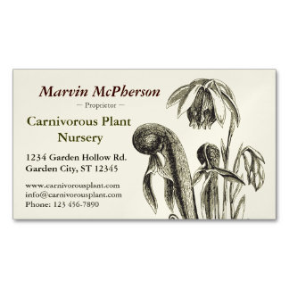 Carnivorous Plant Nursery Magnetic Business Cards