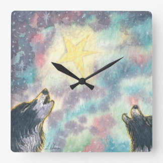 Carol Howling, border collies Christmas carols Square Wall Clock