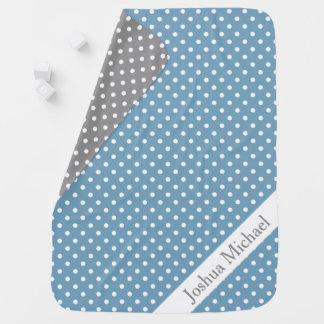 Carolina Blue and Ash Grey Polka Dot Reversible Baby Blanket