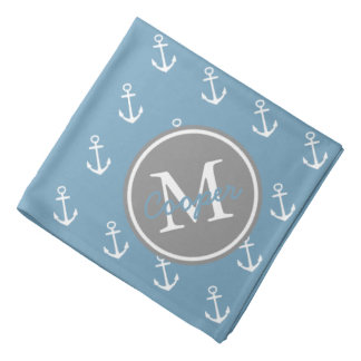 Carolina Blue and Dove Grey Anchor Monogram Kerchief