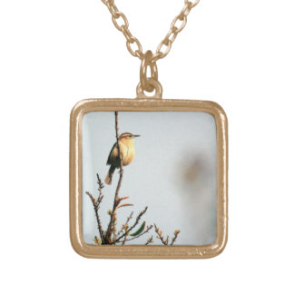 Carolina Wren Painting Gold Plated Necklace