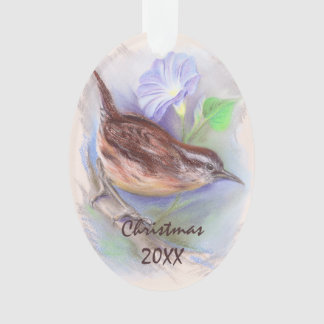 Carolina Wren with Morning Glory Flowers Ornament