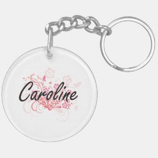 Caroline Artistic Name Design with Flowers Double-Sided Round Acrylic Key Ring
