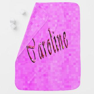 Caroline Name Logo On Pink Mosaic, Baby Blanket
