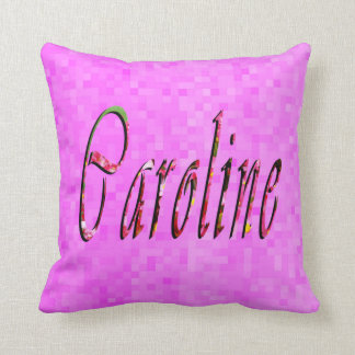 Caroline Name Logo On Pink Mosaic, Cushion