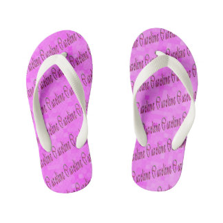 Caroline Name Logo On Pink Mosaic, Kid's Thongs