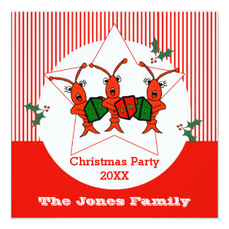 Caroling Crawfish / Lobsters Christmas Party 13 Cm X 13 Cm Square Invitation Card