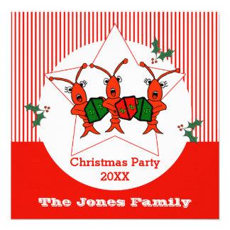 Caroling Crawfish / Lobsters Christmas Party Invitations
