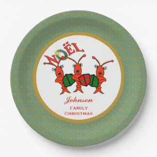 Caroling Crawfish Lobsters Noel 9 Inch Paper Plate