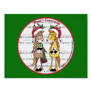 Caroling Horses 'Mare'y Christmas Round 11 Cm X 14 Cm Invitation Card