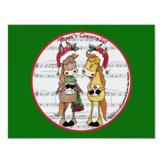 Caroling Horses 'Mare'y Christmas Round Card