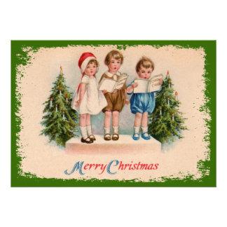 Caroling Kids Painted Christmas Party Invitation