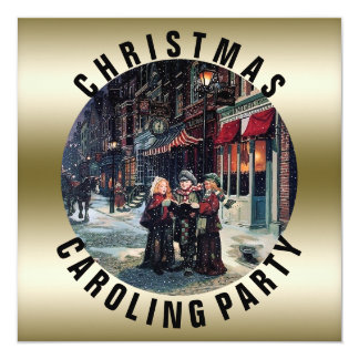 Caroling Party | Victorian Christmas Holiday Card