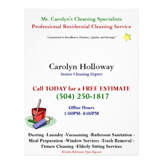 Carolyn Holloway Sample Flyer-Cleaning Services 21.5 Cm X 28 Cm Flyer