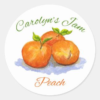 Carolyn's peach jam round sticker