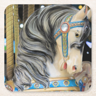 Carousal Horse 1 Square Paper Coaster
