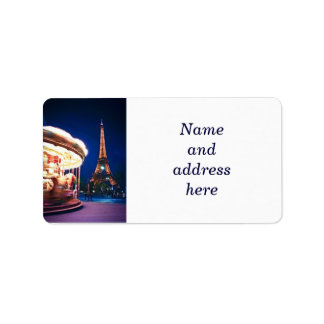 Carousel and Eiffel tower in Paris Address Label