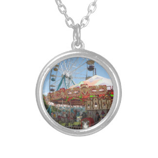 Carousel and Ferris Wheel at the Fair Silver Plated Necklace