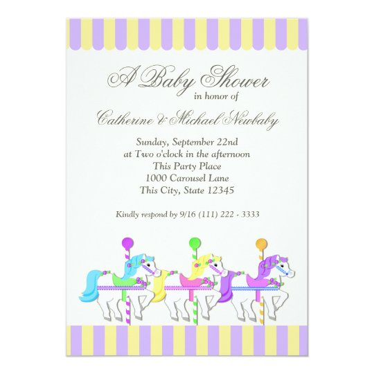 Carousel Baby Shower Purple Gold Card