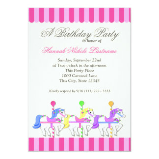 Carousel Birthday Pink Personalized Invitation