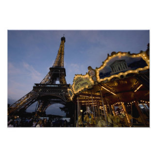 Carousel by the Eiffel Tower in the evening, Photo Print