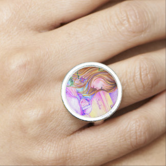 Carousel Dreams Customizable Silver Round Ring