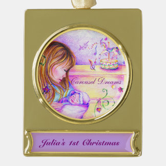 Carousel Dreams Gold Plated Banner Ornament