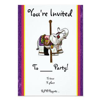"""Carousel Elephant 5"""" X 7"""" Invitation Card"""