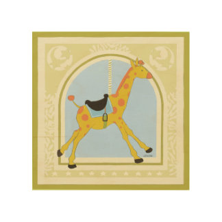 Carousel Giraffe by June Erica Vess Wood Wall Art