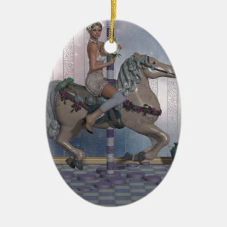 Carousel horse and Elf Ceramic Oval Decoration