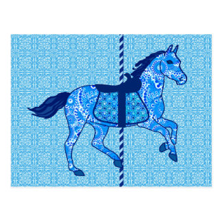 Carousel Horse - Cobalt and Sky Blue Post Card