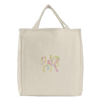 Carousel Horse Embroidered Tote Bag