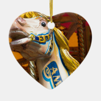 Carousel horse on merry goround ceramic heart decoration