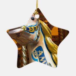Carousel horse on merry goround ceramic star decoration
