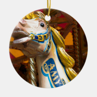 Carousel horse on merry goround round ceramic decoration