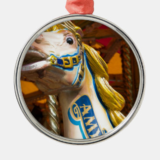 Carousel horse on merry goround Silver-Colored round decoration