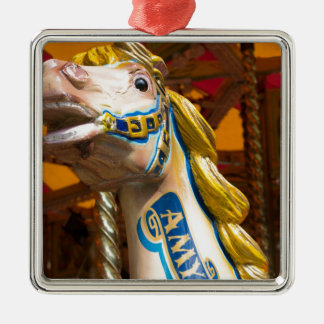 Carousel horse on merry goround Silver-Colored square decoration